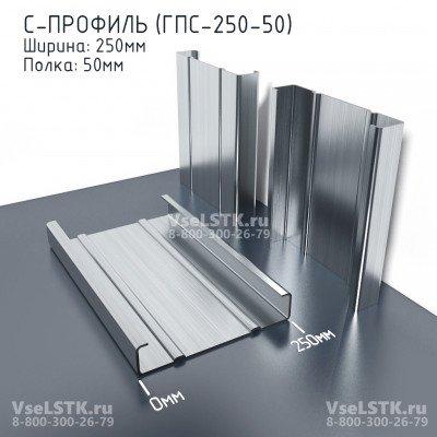 C-профиль ГПС-250мм. Ширина: 250 мм. Толщина 1.2 мм. Полка: 50мм.